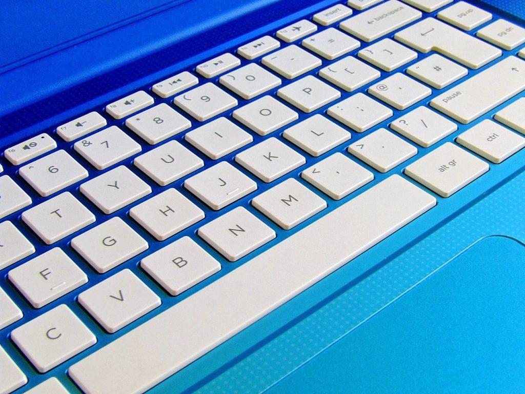 blue close up computer computer keyboard